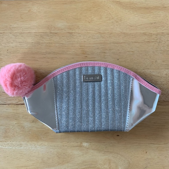 Benefit Silver Glittery Cosmetic Bag / Pouch